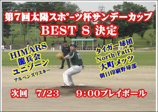 第7回太陽スポーツ杯サンデーカップ BEST8決定