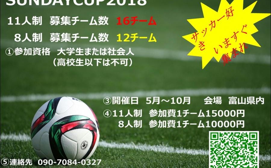 草サッカー 【SUNDAY CUP 2018】 参加チーム募集のお知らせ!!