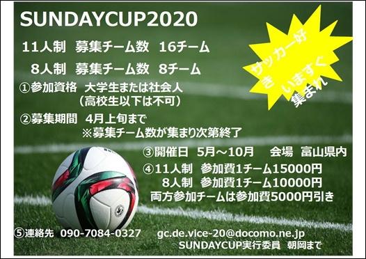 草サッカー 【SUNDAY CUP 2020】 参加チーム 募集中!!