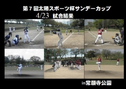 第7回太陽スポーツ杯サンデーカップ4/23試合結果