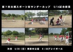 第7回太陽スポーツ杯サンデーカップ5/14試合結果